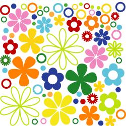 Wandtattoo Blumen mit Kreisen und Ringen