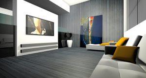 Modernes Wohnzimmer mit Wandtattoo